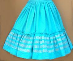 1950/60  Rockmount ranchwear full teal skirt by Cherrybombsvintage, $45.00