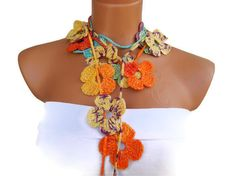 Hand made crochet colorful  Flower Lariat Scarf by WomanStyleStore, $25.00