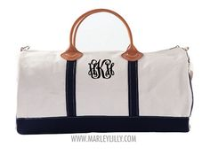 Monogrammed Black Round Duffel Bag