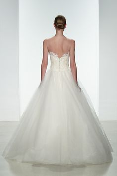 """Amsale Spring 2015 """"Kelly"""" gown back. Corded lace dropped waist #ballgown will full tulle skirt."""