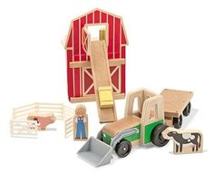 Whittle World Wooden Farm and Tractor Set - 9 Pieces  at theBIGzoo.com, a family-owned toy store.