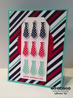 Stampin' Up!, Maritime Dad Ties Card, Teeny Tiny Wishes, Something For Baby, Maritime DSP, Starburst Framelits, Baby's First Framelits, Stylish Stripes Embossing Folder, Angled Tag Topper Punch