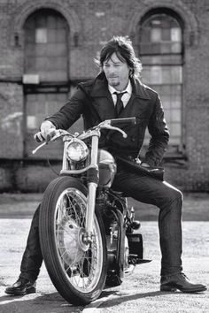 Daryl Dixon on a motorcycle and in a suit... excuse me while I melt from all the hottness