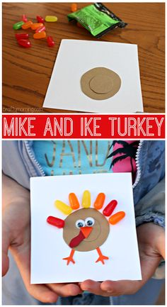 Mike and Ike Turkey Craft #Thanksgiving craft for kids to  make! | CraftyMorning.com