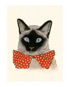 "Siamese Cat Art - Red Bow Tie - 4"" X 6"" cat print"