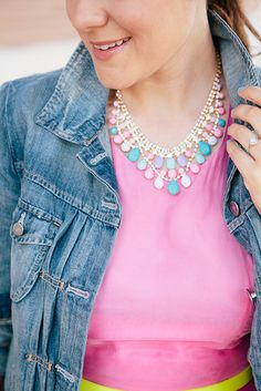 Kendi looking fab in our Pastel Bib Necklace