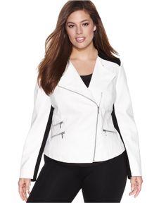 INC International Concepts Plus Size Faux-Leather Colorblock Moto Jacket - Plus Size Jackets & Blazers - Plus Sizes - Macy's