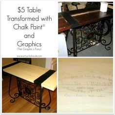 Scroll Table Makeover - Annie Sloan Chalk Paint & Graphics #chalkpaint- artsychicksrule.com