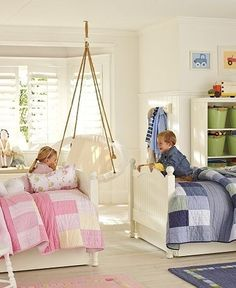 Brother and sister sharing the same bedroom. Love the chair by the way. by dollie