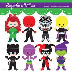 Printable Clip Art Digital PDF PNG File - Superhero Villain