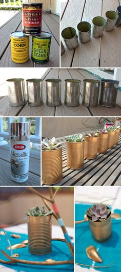 Easy + cheap DIY gold spray painted succulent centerpieces. Perfect for party decoration! {www.eyeheartprettythings.com}