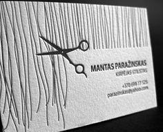 Letterpress Business Card for Hair Stylist Mantas Paražinskas, designed and printed by Elegante Press, Lithuania.