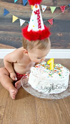 Who needs hands? Cake smash 1st birthday boy