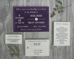 Vintage Winery Wedding Invitations for a vineyard or rustic wedding. - Wine Country Occasions, www.winecountryoccasions.com