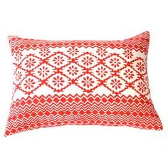 """Block-printed cotton pillow.  Product: PillowConstruction Material: Cotton and down fillColor: Red and white Features: Back zipper closureInsert included  Dimensions: 14"""" x 20"""""""