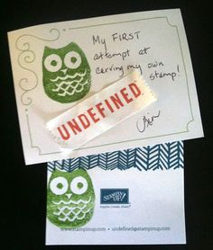 Owl carved by Kim Springer #StampinUp #Undefined