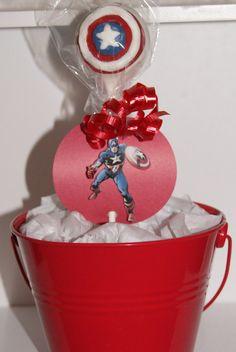 Captain America cake pops.