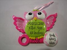 Personalized Baby Girl's First Christmas Owl Ornament Birth announcement- Boy Newborn, Baby Shower Gift / Favor on Etsy, $11.99