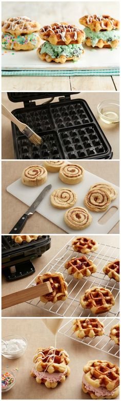 Your favorite ice cream sandwiched between cinnamon roll waffles and drizzled with sweet icing!