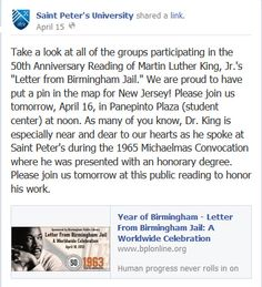Saint Peter's University (New Jersey) participated in reading King's Letter.