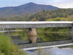 Cornish NH covered bridge/Connecticut River/ Mt. Ascutney VT