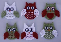Christmas Owl Ornaments - Plastic Canvas