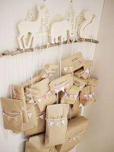 """this advent calendar idea could be a great way to hang party favors or birthday presents!"""