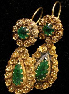 Georgian 18th Century Emerald Day & Night Earrings