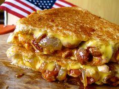 The Sloppy P (chili, cheese, hot dog, caramelized onion)