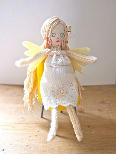 Fairy doll miniature art doll hand knitted fairy Snowdrop