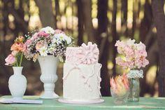 Outdoor wedding cake table sweetpea flower, inspiration, girl inspir, wedding cakes, flowers, cake tables, flower girls
