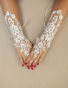 Long Ivory Wedding gloves Floral glove bridal by WEDDINGGloves, $35.00