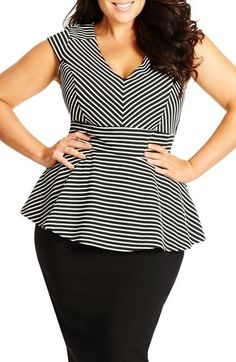 Plus Size Stripe V-N