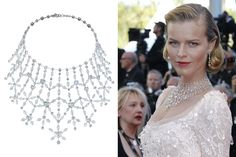 Chopard. Marilyn Monroe tribute necklace from the Red Carpet collection, adorned with heard shaped diamonds and set in white gold, with matching earrings worn by Eva Herzigova at Cannes Film Festival.