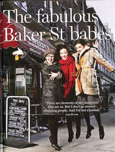 """""""Sherlock""""'s Women (how adorable is this?). L-R: Una Stubbs (Mrs. Hudson), Lara Pulver (Irene Adler), and Louise Brealey (Molly Hooper)."""