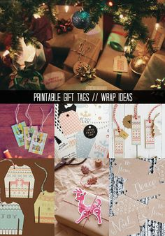 DIY Holiday Gift Wrap Ideas + Printable Tags Galore!!!! Sophistishe.com #giftwrap #gifttags #christmas #holidays #wrappingpaper