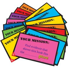 Reading mission cards - give kids something to focus on while reading!- Im gonna have to make these!!