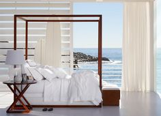 "Ralph Lauren Home Archives, ""Point Dume"", Bedroom, 2014; ""A modern, tranquil interpretation of Ralph Lauren's iconic love of seaside living, featuring rich wood, clean architectural lines and an elegant palette of crisp whites."""
