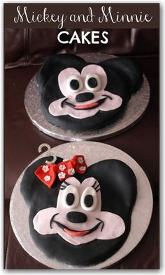 Mickey and Minnie Mouse Cakes - really easy to make! Great for a double birthday celebration or cute on their own.