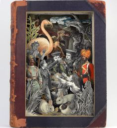 A 3D book sculpture created from a 1892 Boys Own Annual. Bristol-based artist Alexander Korzer-Robinson cuts up antiquarian books to create layered works of art.  Picture: Alexander Korzer-Robinson / Barcroft Media