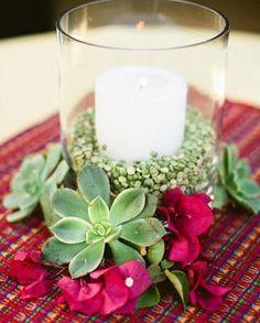 Split pea vase filler, candle, cylinder vase, and  succulents.