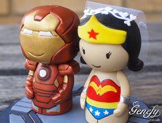 iron mand and wonderwoman cake topper