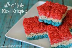 Fourth of July Rice Krispies Treats! Festive, easy and DELISH!! #fourthofjuly