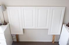 cabinet doors yield headboard