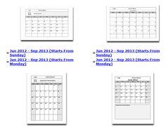 School Month Calendars (2012 - 2013)