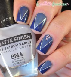 Deep V Nail Art: beautynails advance skinny blue and matte finish by La Paillette Frondeuse #nails #nailart #stripingtape #blue #tape #manicure Pinned by www.SimpleNailArtTips.com