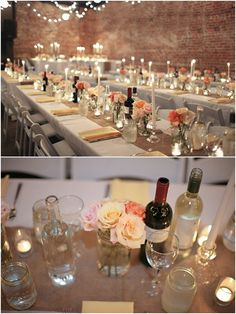 Cute and simple wedding reception dinner tables, using a variety of bottles and vases.