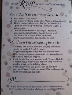 Funniest wedding invitation! The couple, Katie Kerr and Chris Sabino, are big White Sox fans, in case you couldn't tell, and are set to tie the knot on September 21, 2013.  * But this Cubs fan isn't laughing at one of the declines!  lol