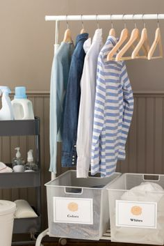 Great tips for organizing your laundry room and other messy rooms in your house. Plus,  pretty labels for the finishing touches!