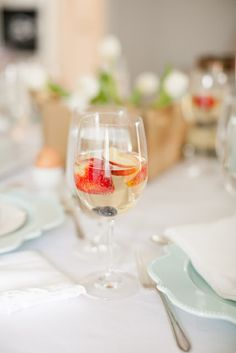 Peach Champagne Punch, an Easter brunch signature cocktail